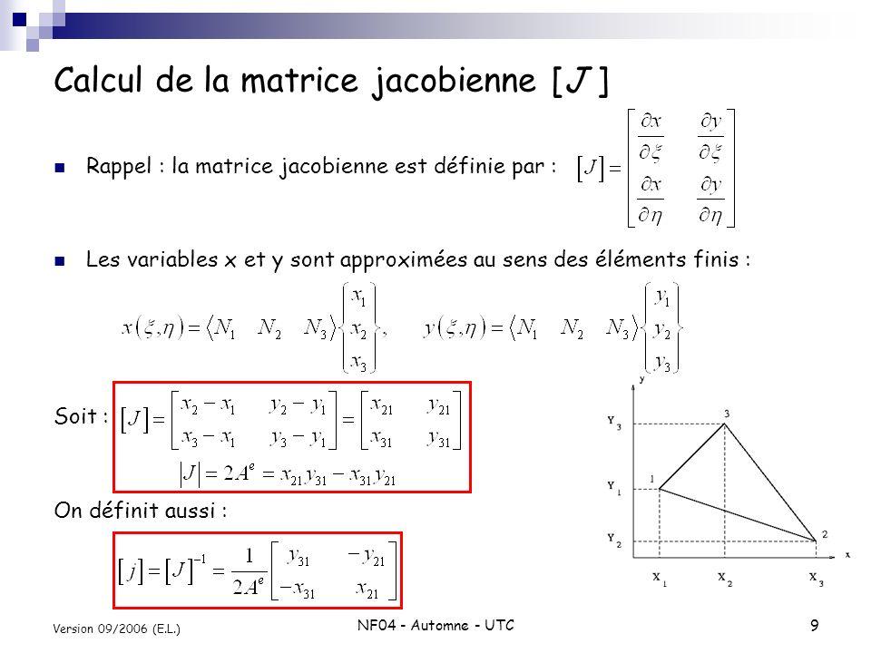 Calcul de la matrice jacobienne [J ]